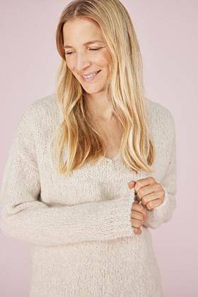 Pullover V-Ausschnitt Alpaka