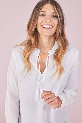 Langarm Basic Bluse mit V-Ausschnitt