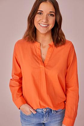 Uni-Bluse mit V-Ausschnitt