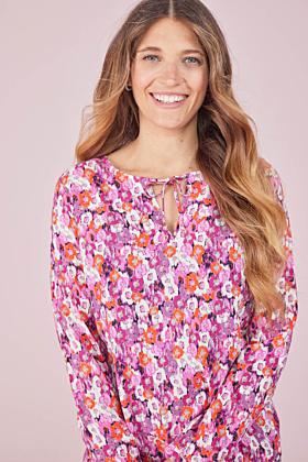 Bluse mit Gummizug und Blütendruck