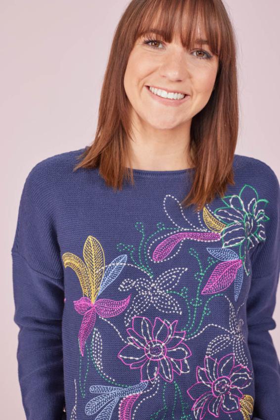 Pullover Blumenmotiv
