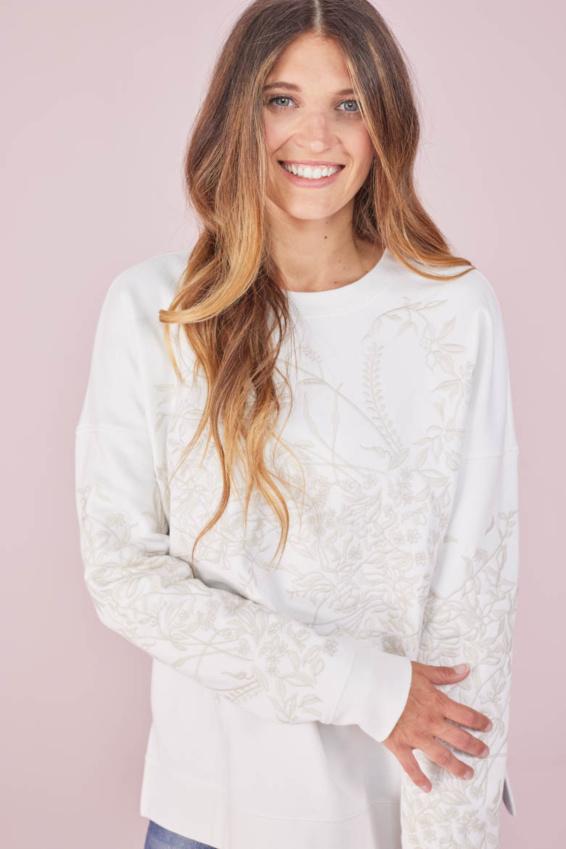 Sweatshirt mit Blumenstick