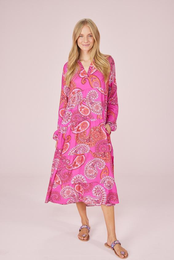 Langarmkleid mit pinkem Paisley Muster