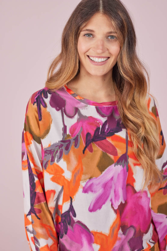 Bluse mit Gummizug Herbstblüten